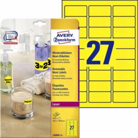 Etiket Avery L6004-25 63.5x29.6 neon geel 675stuks