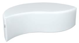 Witte poef in bladvorm zithoogte 34 cm