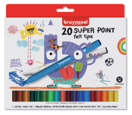 Viltstift Bruynzeel Kids super points - 20 stuks assorti