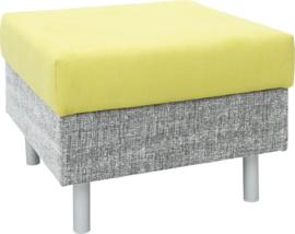 Vierkante relax-poef grijs/groen - ronde poten