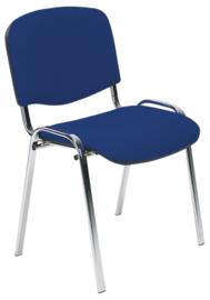 Vergaderstoel Yaro chroom, blauwe stof