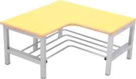 Flexi garderobe hoekbank 4, zithoogte 26 cm., geel