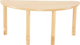 Halfronde Flexi tafel 120x60cm beuken 58-76cm hoogte verstelbaar