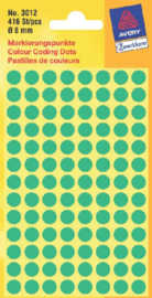 Etiket Avery Zweckform 3012 rond 8mm groen 416stuks