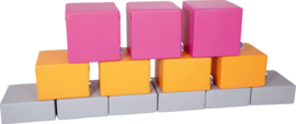 Set van 13 Poefjes div hoogtes en kleur - Paars/oranje/grijs