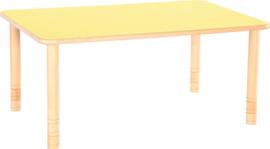 Rechthoekige Flexi tafel 120x80cm geel in hoogte verstelbaar
