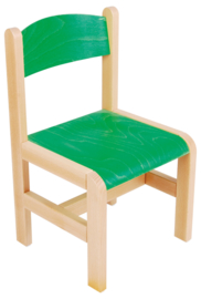 Hout stoel , groen maat 1-3