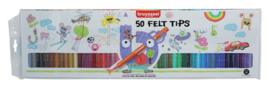 Viltstift Bruynzeel Kids - mapje 50 stuks assorti
