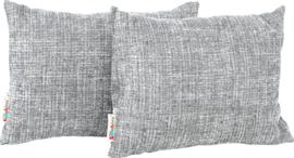 Rechthoekige kussens, grijs gemêleerd, 2 stuks