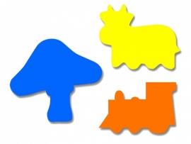 Plakfiguren jumbo paddestoel, trein en koe