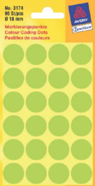 Etiket Avery Zweckform 3174 rond 18mm lichtgroen 96stuks