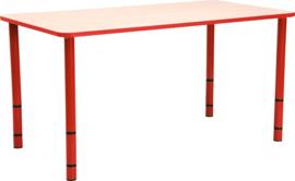 Rechthoekige Quint-tafel 115 x 65 met rode rand en in  40-58cm hoogte verstelbaar