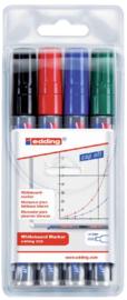 Viltstift edding 250 whiteboard rond ass 1.5-3mm etui à 4st