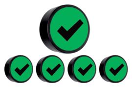 5x Magneet check 35mm groen