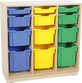 L-kast voor plastic bakjes met plint - 3 rijen