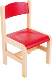 Houten stoel met viltdoppen rood maat 1-3