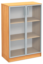 Expo medium vitrinekast aluminium frame - beuken