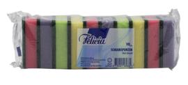 Schuurspons Felicia assorti 6x9cm 10 stuks