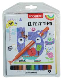 Viltstift Bruynzeel Kids - mapje 12 stuks assorti