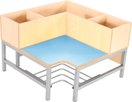 Flexi garderobe hoekbank 3, zithoogte 26 cm., lichtblauw