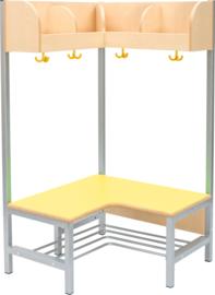 Flexi hoekgarderobe 4, zithoogte 35 cm., geel