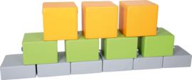 Set van 13 Poefjes div hoogtes en kleur - Oranje/groen/grijs