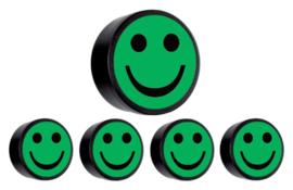 5x Magneet smiley 35mm groen