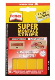 Supermontagestrip Pattex 2kg verwijderbaar 10stuks