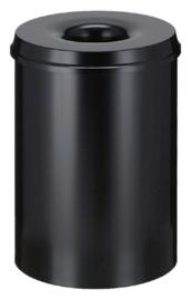 Papierbak met vlamdover Vepabins 30 liter zwart