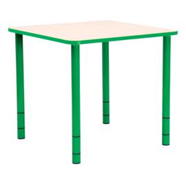 Vierkante Quint-tafel 65 x 65 cm met groene rand 40-58cm hoogte verstelbaar