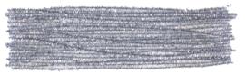 Chenilledraad metallic zilver 6 mm. - 50 cm.