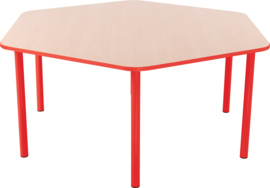 Zeshoekige Quint-tafel 128 cm met rode rand 40-58cm