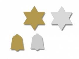 Plakfiguren Kerst ster en klokje goud en zilver