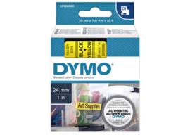 Labeltape Dymo 53718 D1 720980 24mmx7m zwart op geel