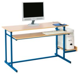 Computerbureau NEO 2, dubbel, met vaste toetsenbordlade -  blauw