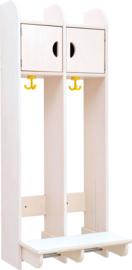 Dubbel hangende garderobe - gebleekt multiplex
