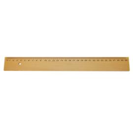 Liniaal hout met metalen inlegrand 300 mm.