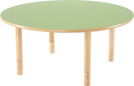 Ronde Flexi tafel 120cm groen 58-76cm hoogte verstelbaar