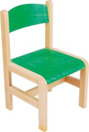 Houten stoel met viltdoppen groen maat 1-3