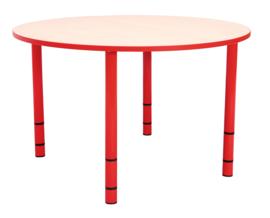 Ronde Quint-tafel 90 cm met rode rand en in  40-58cm hoogte verstelbaar