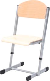 Len stoel met instelbare hoogte - maat 1-6 zilver