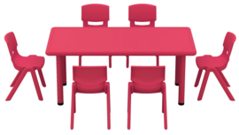 Dumi rechthoekige tafel - rood