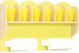 Plank voor bekers en papieren handdoeken