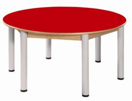 Beukenhouten tafel rond 120 cm. verstelbare metalen poten