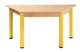 Tafel beuken/metaal 120 x 60 cm. trapezium 40-76 cm.