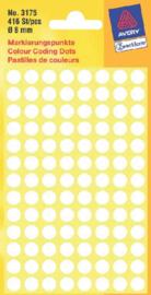Etiket Avery Zweckform 3175 rond 8mm wit 416stuks