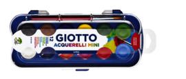 Gouache Giotto 30 mm. 12 kleuren, met penseel