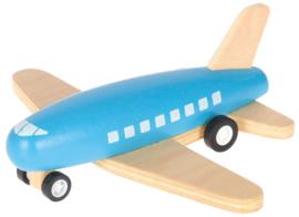 Houten vliegtuig - blauw