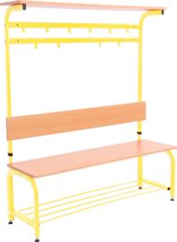 Garderobe met verstelbare bank en haken - geel