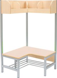 Flexi hoekgarderobe met frame 4, hoogte: 26 cm, berken,  vlamvertragend